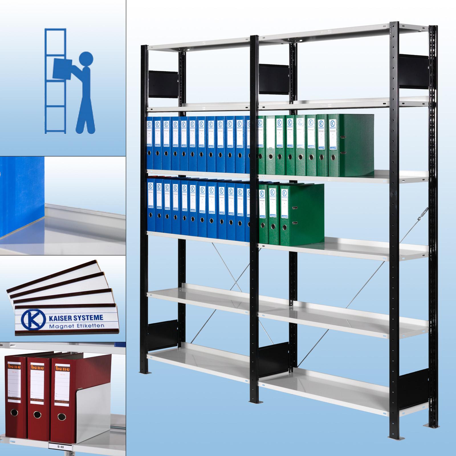 s40 ordnerregal stecksystem schwarz ral 7035 pulverbeschichtet bei kaiser systeme. Black Bedroom Furniture Sets. Home Design Ideas