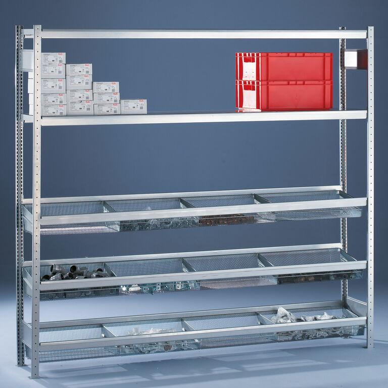 s20 weitspannregal mit gitterkorbb den kaiser systeme. Black Bedroom Furniture Sets. Home Design Ideas